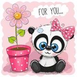 De Pandameisje van de groetkaart met bloem vector illustratie