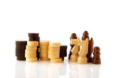 De panden en de controleurs van het schaak Stock Afbeeldingen