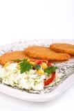 De Pannekoek van de aardappel/de Cake van het Rooster op geïsoleerdeT plaat Stock Afbeelding