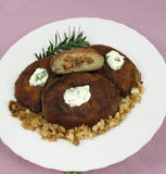 De pannekoeken van de aardappel met vlees Stock Fotografie