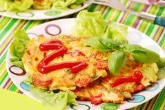 De pannekoeken van groenten met kool Royalty-vrije Stock Foto