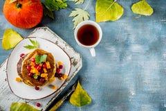 De pannekoeken van de de herfstpompoen Royalty-vrije Stock Foto