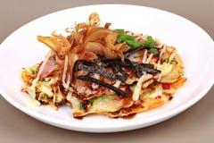 De Pannekoekrecept van de Okonomiyaki Japans Kool Royalty-vrije Stock Fotografie