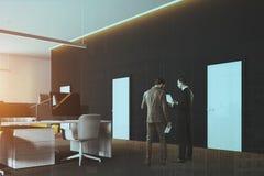 De panoramische hoek van het open plekbureau, gestemd grijs Stock Foto's