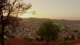 De panoramische mening van Barcelona van Tibidabo-berg stock footage