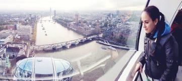 De panoramische mening van Londen van het Oog van Londen Stock Fotografie