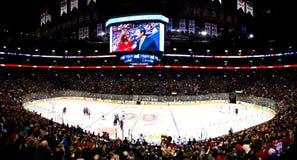 De panoramische nacht van het Hockey in Canada Stock Fotografie