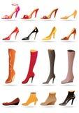 De pantoffels, de schoenen en de laarzen van dames royalty-vrije illustratie