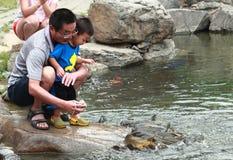 De papa en zijn zoon voeden vissen in park Stock Foto