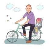 De papa met de baby gaat door fiets Stock Foto