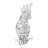 De papegaai van de Steampunkstijl het kleuren boekvector Stock Afbeeldingen