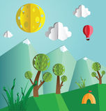 De papel estale acima a paisagem do verão Imagem de Stock Royalty Free