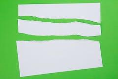 De papel rasgada en fondo verde Foto de archivo libre de regalías