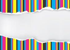 De papel rasgado com as listras da cor da cópia Foto de Stock