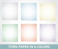 De papel rasgado em cores diferentes Imagem de Stock