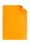 De papel vacío anaranjado A4 aislada en blanco Foto de archivo libre de regalías