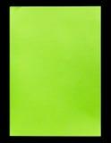 De papel vacío verde A4 aislada en negro Foto de archivo libre de regalías