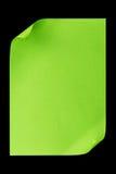 De papel vacío verde A4 aislada en negro Fotos de archivo