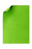 De papel A4 vazio verde isolado no branco Foto de Stock