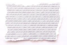 De papier déchiré avec le code binaire Photo libre de droits