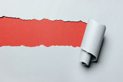 De papier déchiré avec le fond rouge Image stock