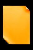 De papier A4 vide orange d'isolement sur le noir Photo stock