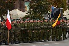 De parade in Kiev op de dag van onafhankelijkheid van de Oekraïne op 24 Augustus, 2016 stock foto