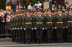De parade in Kiev op de dag van onafhankelijkheid van de Oekraïne op 24 Augustus, 2016 royalty-vrije stock foto's