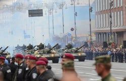 De parade in Kiev op de dag van onafhankelijkheid van de Oekraïne op 24 Augustus, 2016 stock afbeelding
