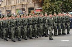 De parade in Kiev op de dag van onafhankelijkheid van de Oekraïne op 24 Augustus, 2016 stock foto's