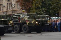 De parade in Kiev op de dag van onafhankelijkheid van de Oekraïne op 24 Augustus, 2016 royalty-vrije stock fotografie