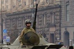 De parade in Kiev op de dag van onafhankelijkheid van de Oekraïne op 24 Augustus, 2016 royalty-vrije stock afbeelding
