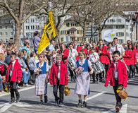 De parade van de de lentevakantie in Zürich, Zwitserland Stock Foto