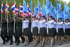 De Parade van de Korpsen van het Leger van Thailand royalty-vrije stock afbeeldingen
