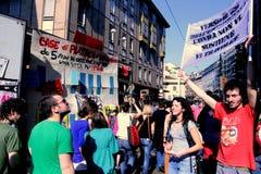 De parade van het de straatprotest van de meidag, Milaan Italië Stock Fotografie