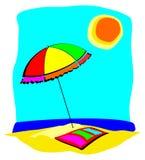 De paraplu en de handdoek van het strand Stock Afbeelding