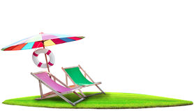 De paraplu en strand van paren het houten stoelen isoleerden wit Royalty-vrije Stock Fotografie