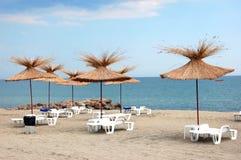 De paraplu's van de palm op een strand Stock Afbeeldingen