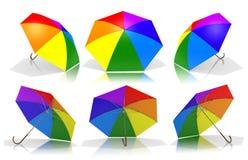 De paraplu's van de regenboog Royalty-vrije Stock Afbeeldingen