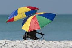 De paraplu's van het strand Stock Foto's