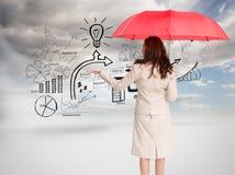 De paraplu van de onderneemsterholding Royalty-vrije Stock Foto