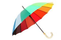 De paraplu van de regenboog op witte achtergrond Stock Foto