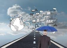 De paraplu van de zakenmanholding Royalty-vrije Stock Foto