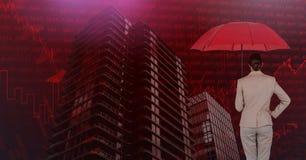 De paraplu van de onderneemsterholding en Lange gebouwen met economische financiënachtergrond royalty-vrije stock afbeelding