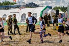 De paren beginnen in extreem ras Tyumen Royalty-vrije Stock Foto