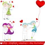 De paren van de Dag van de leuke Valentijnskaart Stock Fotografie