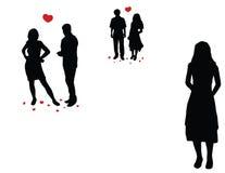 De paren van Loveful en eenzaam meisje vector illustratie