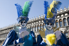 De Paren van Venetië Carnaval Stock Foto's