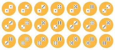 De paren van wit dobbelt vector vlakke pictogramreeks stock illustratie