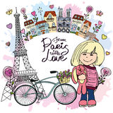De Paris avec la carte d'amour Photo libre de droits